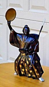 "EARLY 20c GILT BRONZE GREAT JAPANESE SAMURAI MORI TAHEI  ARMED STATUE 24""H"
