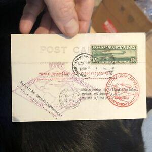 Rare Postal Postcard Cover Graf Zeppelin, 1930 Flight NY USA to Germany