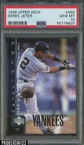 1998 Upper Deck UD #450 Derek Jeter New York Yankees HOF PSA 10 GEM MINT