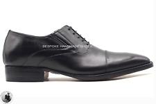 Zapatos formales de boda para hombre con cordones Oxford negros genuinos hechos
