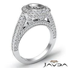 Oval Semi Mount Halo Pave Diamond Engagement Bezel Ring 14k White Gold 1.25Ct