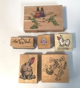Six Easter Bunny Rubber Stamps