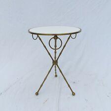 VTG Faux Bamboo Brass / White Glass Side Table Tripod Rings Maison Jansen Style