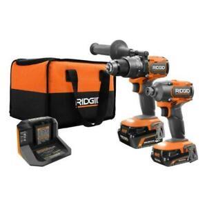 RIDGID 18V Brushless Hammer Drill and 3-Speed Impact Driver Kit (R9208)