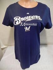 """04BB WOMENS MLB MILWAUKEE BREWERS """"D BAR"""" Jersey Shirt BLUE LARGE"""