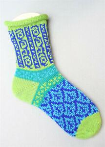 Socke, Stricksocken, Handarbeit, grün, türkies, Gr. 39 Gr. 40 (39-40)