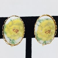 Vintage Porcelain Cameo Yellow Rose Earrings Clip On Flower Filigree