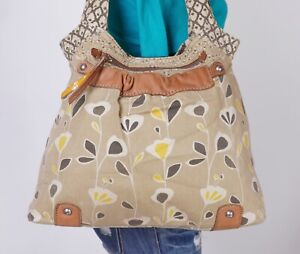FOSSIL Large Multicolor Canvas Leather Shoulder Hobo Tote Satchel Purse Bag