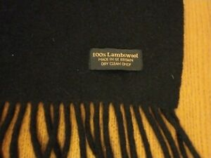 Black 2 Metres 100% Lambswool Scarf Made in Great Britain Extra Long Felt Wool