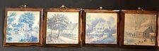 Vintage Set of (4) Wooden American Homestead Coaster Trivets Wall Hangings Excel