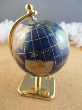 "4"" Gemstone Blue Lapis Globe Figurine Earth World Sculpture On Gold Base"