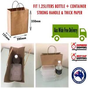 SALE 25/50/100x 350x280x125mm Brown Kraft Paper Bags Shopping Gift HEAVY DUTY