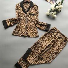 Women Sexy Satin Silk Pajamas Sets Leopard Print Sleepwear Long Sleeve Nightwear