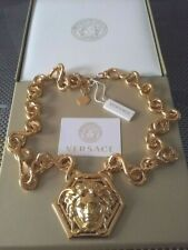 AUTH. VERSACE $1750 GOLD  CHUNKY CHAIN NECKLACE WITH HUGE MEDUSA HEAD MEDALLION