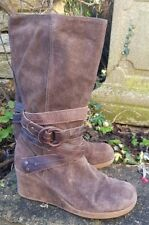 faith brown suede wedge mid calf boot UK 5