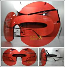 New OVERSIZE VINTAGE RETRO Style SUN GLASSES Unique Rimless Round Frame Red Lens