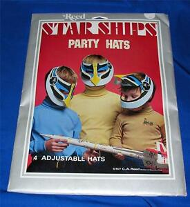 VTG 1977 PKG of 4 REED STAR SHIPS PAPER PARTY HATS FOR BIRTHDAY, HALLOWEEN