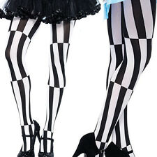 Two Tone Color Block Opaque Jester Tights Costume Pantyhose Mis Match Striped OS