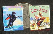 Dollhouse Miniature Zorro Gene Autry 2 Children's Books 1:12 Cowboy Western Book