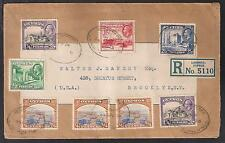 CYPRUS 1935 KGV REGISTERED COVER LARNACA to USA with Total 63/4pi 1934 issue