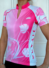 JIVANA Ladies Womans Cycling Bike Jersey Top short sleeve Pink & white XS - 4XL
