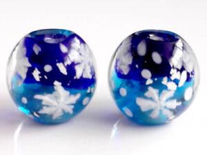 10pcs handmade Lampwork glass round Beads flower 14mm blue snowflake sky silver