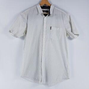 Ben Sherman Mens Size XL White Pinstripe Short Sleeved Shirt Button Down