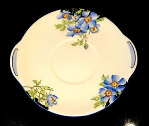 Stunning Art Deco, Rare Royal Doulton Rosea Blue Cake Plate