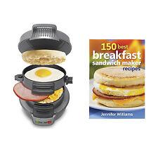 Hamilton Beach Breakfast Sandwich Maker Countertop, Silver + 150 Recipe Cookbook