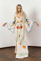 Runway Occident Women's V-Collar Bohemia Floral Embroidery Vintage Maxi Dress N6