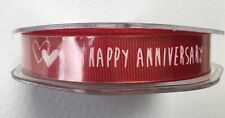 Happy Anniversay 15mm X 20m Roll Of Red Ribbon BARGAIN