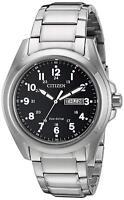 Citizen Men's Eco-Drive Black Dial Silver-Tone Bracelet 43mm Watch AW0050-82E