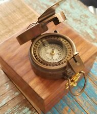 BRITISH MILITARY WW2 STYLE LENSATIC COMPASS SOLID BRASS /WOOD INLAY BOX NAUTICAL