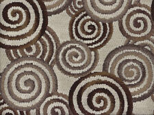 Designer Upholstery Fabric Heavy Weight Chenille w/ Retro Spirals - Taupe Multi