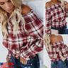 Women Lattice Off-Shoulder Ruffled Lantern Sleeves Blouse Plaid Loose Shirt Tops