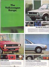 1978 VOLKSWAGEN RANGE 16 Page Brochure in English POLO GOLF SCIROCCO PASSAT etc