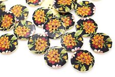 Large Chrysanthemum Flower Button Black Orange Floral Wooden Coat 30mm 20pcs