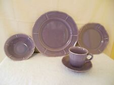 5 piece place setting METLOX PLUM Purple Violet Dinner Plate Cup Saucer Bowl