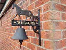 CAST IRON HORSE & FOAL WELCOME SIGN WALL BELL ~ ANTIQUE STYLE FARM SHED BARN