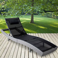 Poly Rattan Sun Lounger Garden Furniture Recliner Day Bed Sun Deck Chair Outdoor