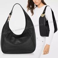 NWT 🌹 Michael Kors Soft Leather FULTON Large Hobo Shoulder Bag Black Gold