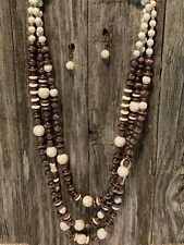 White Stone & Copper Faux Bead Layered Necklace Set
