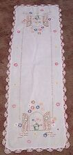 Vintage Table Runner Embroidered Flowers on a Windowsill Pink Edging