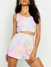 Boohoo Tie Dye Pastel High Waist Shorts 14