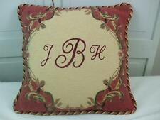 """Flemish French Tapestries Accent Pillow Aubusson Tapestry Initials J-B-H 16""""x16"""""""