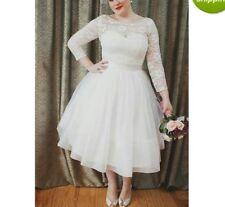 Custom Plus size 3/4 Sleeve Lace Bridal Gown Wedding Dress