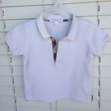 12 Months 1Y Authentic Burberry Baby Boy POLO T-shirt White Check Trim Placket