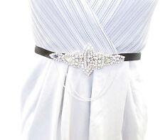 Black Silver Chain Diamante Belt 1920s Flapper Fancy Dress Great Gatsby Vtg 1820