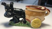 Vintage Dog Pulling A Pot Ashtray Occupied Japan 1940s Wartime Era Great Cnditn!