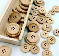 50 Pcs DIY 4-Holes Mixed Wooden Buttons Natural Color Round Sewing Scrapbooking